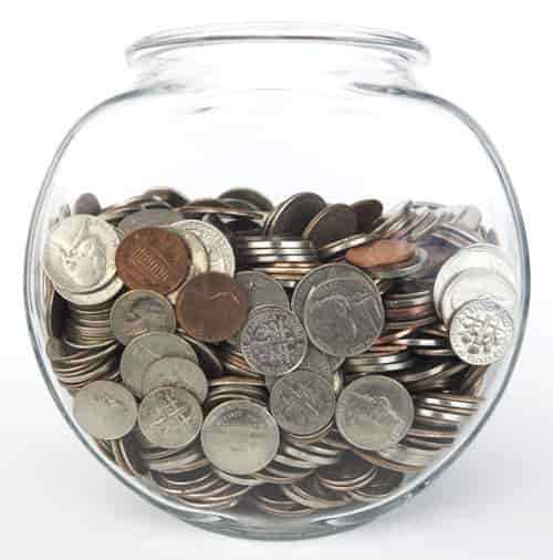 Aquarium filled with money.